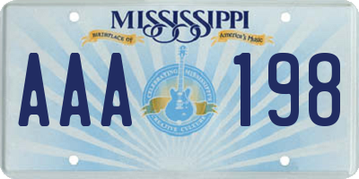 MS license plate AAA198