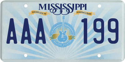 MS license plate AAA199