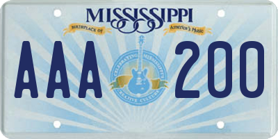 MS license plate AAA200