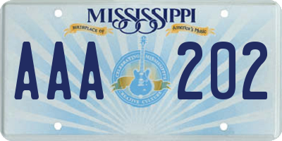 MS license plate AAA202