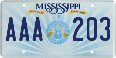 MS license plate AAA203