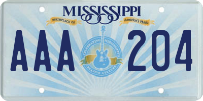 MS license plate AAA204
