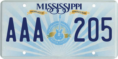 MS license plate AAA205