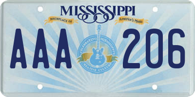 MS license plate AAA206