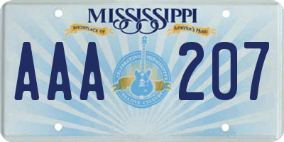 MS license plate AAA207