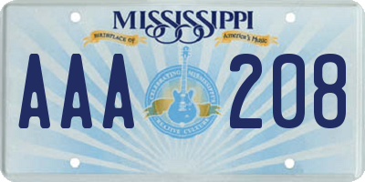 MS license plate AAA208