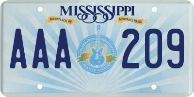 MS license plate AAA209