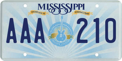 MS license plate AAA210