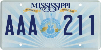 MS license plate AAA211
