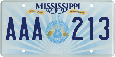 MS license plate AAA213