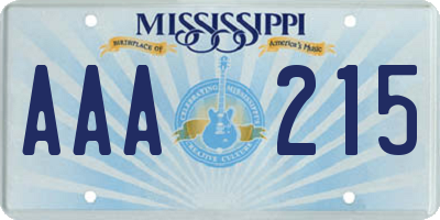 MS license plate AAA215