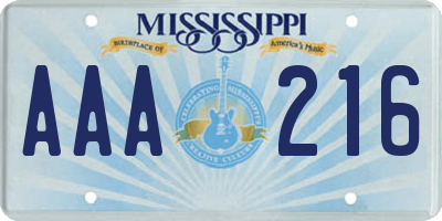MS license plate AAA216