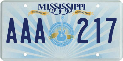 MS license plate AAA217