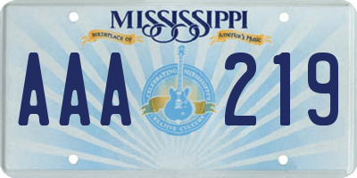 MS license plate AAA219