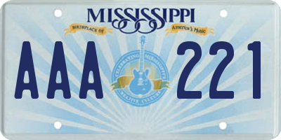 MS license plate AAA221