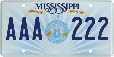 MS license plate AAA222