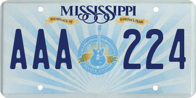 MS license plate AAA224