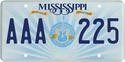 MS license plate AAA225