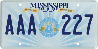 MS license plate AAA227