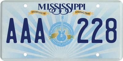 MS license plate AAA228