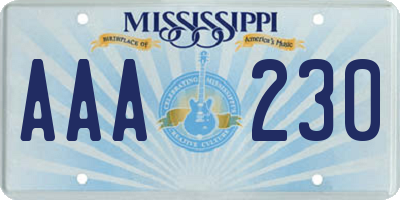 MS license plate AAA230