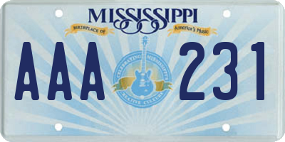 MS license plate AAA231