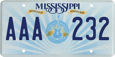 MS license plate AAA232