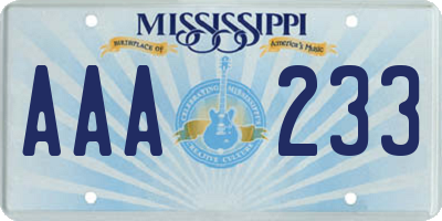 MS license plate AAA233