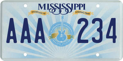 MS license plate AAA234