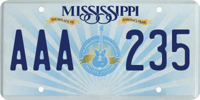 MS license plate AAA235