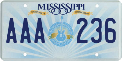 MS license plate AAA236