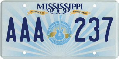 MS license plate AAA237