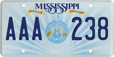 MS license plate AAA238
