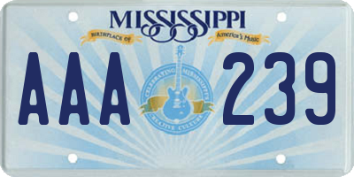 MS license plate AAA239