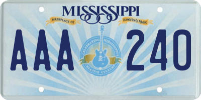 MS license plate AAA240