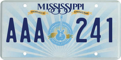MS license plate AAA241