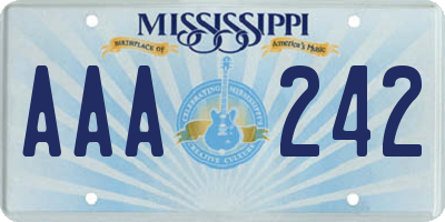 MS license plate AAA242