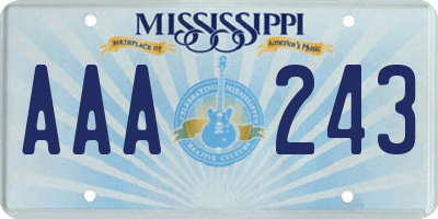 MS license plate AAA243
