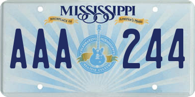 MS license plate AAA244