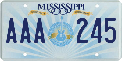 MS license plate AAA245