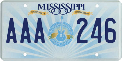 MS license plate AAA246