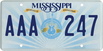 MS license plate AAA247
