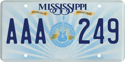 MS license plate AAA249