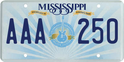 MS license plate AAA250