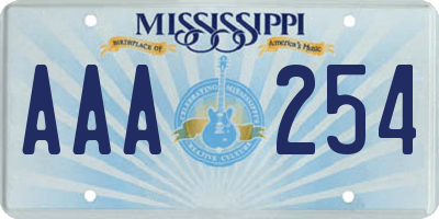 MS license plate AAA254