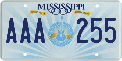 MS license plate AAA255