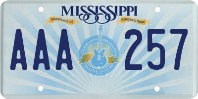 MS license plate AAA257