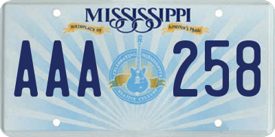 MS license plate AAA258