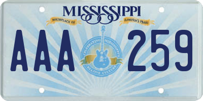 MS license plate AAA259