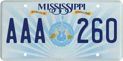 MS license plate AAA260